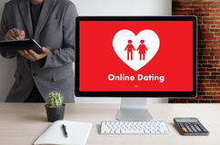Online Dating match love man and woman and a heart, Internet Da Royalty Free Stock Photography