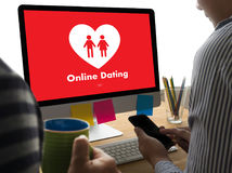 Online Dating match love man and woman and a heart, Internet Da. Ting Digital Matchmaking stock photo