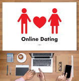 Online Dating match love man and woman and a heart, Internet Da Stock Images