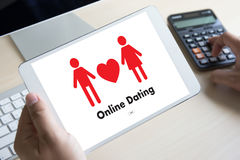 Online Dating match love man and woman and a heart, Internet Da Royalty Free Stock Image