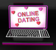 Online Dating Message On Laptop Shows Romancing And Web Love Stock Photos