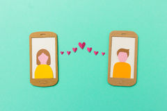 Online dating and mobile flirting concept Stock Image