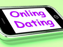 Online Dating  On Phone Shows Romancing And Web Love. Online Dating On Phone Shows Romancing And Web Love Stock Photos