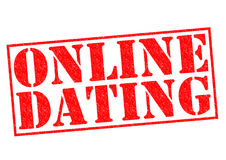 ONLINE DATING. Red Rubber Stamp over a white background Stock Photography
