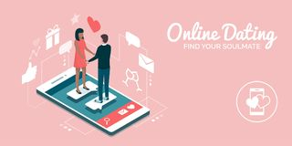Online dating and relationships. Couple meeting online on a dating website app, they are a perfect match: social media and relationships concept Stock Images