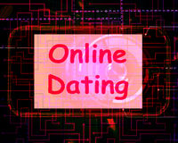 Online Dating  On Screen Shows Romancing And Web Love Royalty Free Stock Photography