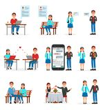 Online dating set, people finding love using dating websites and app on smartphones and computers vector Illustrations. Isolated on a white background Stock Image