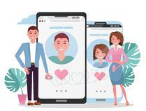 Online dating social networking, virtual relationships concept. Man and woman acquaintance in social network.Male female chatting vector illustration