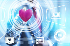 Online dating technology. Concept pointing finger Royalty Free Stock Photography