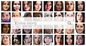 Online dating. The text is displayed in the search box on the ba. Ckground of a collage of many square female portraits. The concept of service for dating royalty free stock image