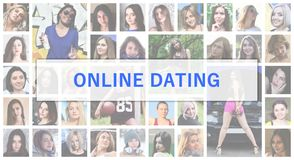 Online dating. The title text is depicted on the background of a. Collage of many square female portraits. The concept of service for dating stock images