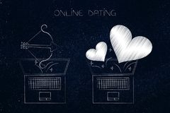 Online dating laptop with lovehearts flying out of the screen ne. Online dating website conceptual illustration: laptop with lovehearts flying out of the screen Stock Image