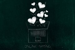 Online dating laptop with lovehearts flying out of the screen Stock Images