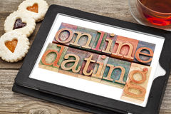 Online datingon tablet Royalty Free Stock Photo