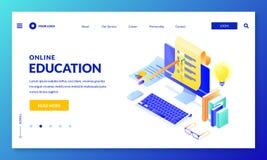 Online-datorfrågesport Landa sidabanerdesign Isometrisk illustration för vektor 3d Internetutbildning som lär begrepp vektor illustrationer