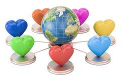 Online datowanie pojęcie Ziemska kula ziemska z barwionymi sercami, 3D rende Obraz Stock