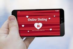 Online-datummärkningmobiltelefon Royaltyfria Bilder