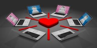 online-datummärkningnätverk Arkivfoto