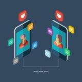Online-datummärkningservice, faktisk kommunikation och sökandeförälskelse i internet stock illustrationer