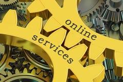 Online de Dienstenconcept op de tandwielen, het 3D teruggeven Stock Foto's