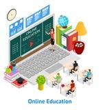 Online de Kaart 3d Isometrische Mening van het Onderwijsconcept Vector Royalty-vrije Stock Afbeeldingen