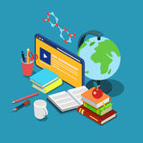 Online de kennis vlak 3d isometrische vector van het cursussenonderwijs Royalty-vrije Stock Foto's