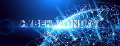 Online de Verkoopgebeurtenis van de Cybermaandag Vectortechnologieillustratie royalty-vrije illustratie
