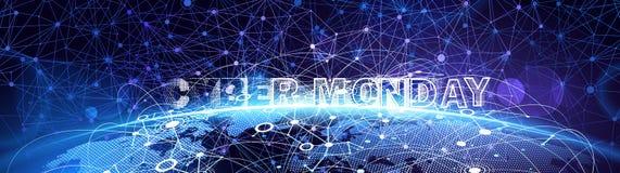 Online de Verkoopgebeurtenis van de Cybermaandag Vectortechnologieillustratie stock illustratie
