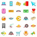 Online deal icons set, cartoon style. Online deal icons set. Cartoon set of 25 online deal vector icons for web isolated on white background Stock Image