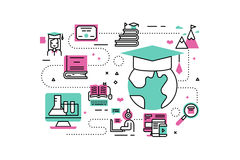 Online Degree illustrations Royalty Free Stock Photography