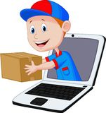 Online delivery cartoon Stock Photography