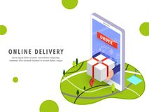 Online delivery, isometric design with human hands coming out fr stock illustration