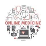 Online-diagnos- och behandlingbaner Infographic faktisk medicinsk konsultation Vektorlinje symboler infographic set stock illustrationer