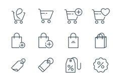 Online die het winkelen lijnpictogrammen op witte achtergrond worden geplaatst stock afbeeldingen