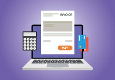 Online digital invoice. Using computer calculator and credit card Royalty Free Stock Image