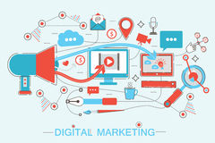Online Digital Marketing and social network media branding strategy   Stock Photography