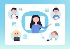 Free Online Distance School. Teacher And Students. Blended And Flipped Learning Education Concept Vector Illustration Stock Photos - 176904563