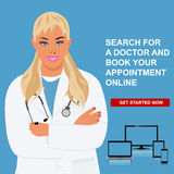 Online doctor appointment, physician visit, vector illustration Royalty Free Stock Photo