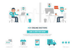 Online Doctor Concept. Online doctor flat design for landing page website or magazine illustration print Royalty Free Stock Photo