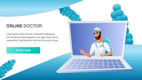 Online Doctor Consult Patient Distant Treatment. Modern Medicine. Medical Web Service. Male Practitioner Character Wear Glasses, Stethoscope at Computer Screen stock illustration
