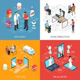 Online Doctor Isometric Medical Concept. Online virtual doctor consultation quick diagnosis and medication choice concept 4 isometric icons square composition Royalty Free Stock Image