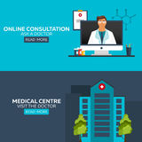 Online doctor. Online consultation. Ask doctor. Medical illustration. Medical centre. Visit the doctor. Hospital and health care. Royalty Free Stock Image
