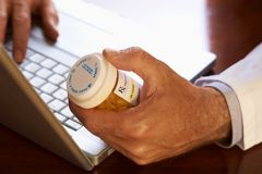 Online doctor prescription Stock Images