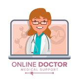 Online Doctor Woman Vector. Medical Consultation Concept Design. Female Look Out Laptop. Online Medicine Support. Isolated Illustration Royalty Free Stock Images