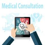 Online-doktor Apps för medicinsk konsultation på mobila enheten Royaltyfri Bild