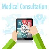 Online-doktor Apps för medicinsk konsultation på mobila enheten Arkivbilder