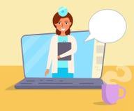 Online-doktor Vector cartoon vektor illustrationer