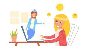 Online-doktor vektor cartoon royaltyfri illustrationer