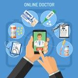 Online-doktorsbegrepp Arkivbild
