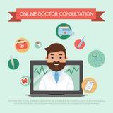 Online doktorska pojęcie sztandaru wektoru ilustracja Doktorska Konsultacja Męski charakter z sprzętu medycznego dawać ilustracja wektor